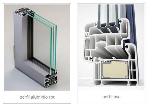 perfil aluminio contra pvc