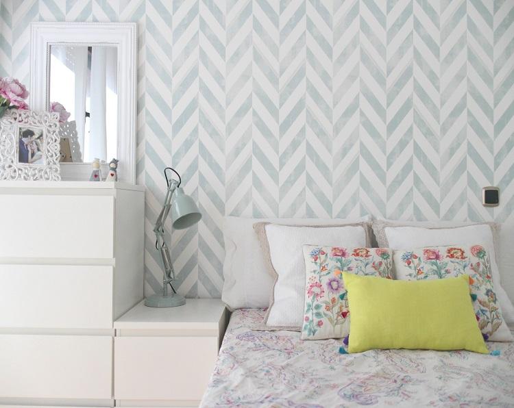 El taller de las cosas bonitas habitacion despues de for Papel de empapelar muebles