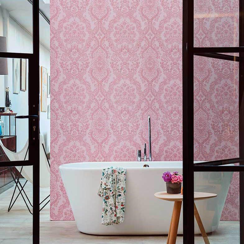 Papel pintado naturaleza geométrico baño