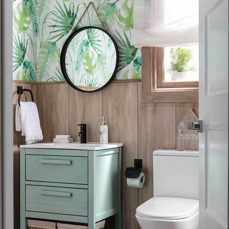 Papel pintado naturaleza baño