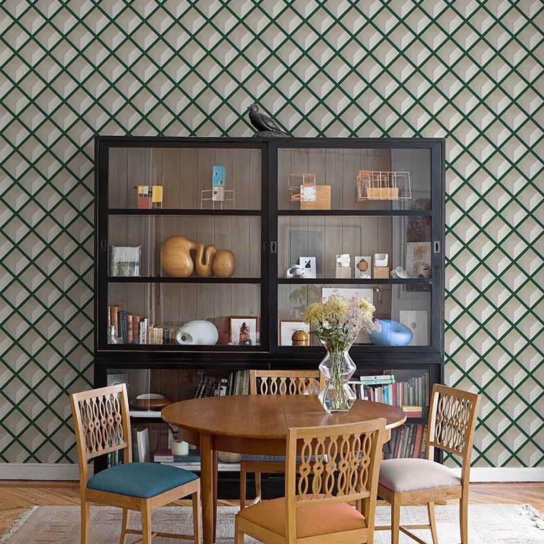 Papel pintado geométrico 3D sala de estar