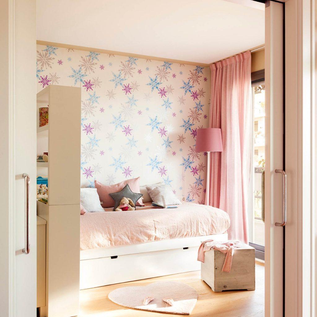 Papel pintado geométrico dormitorio