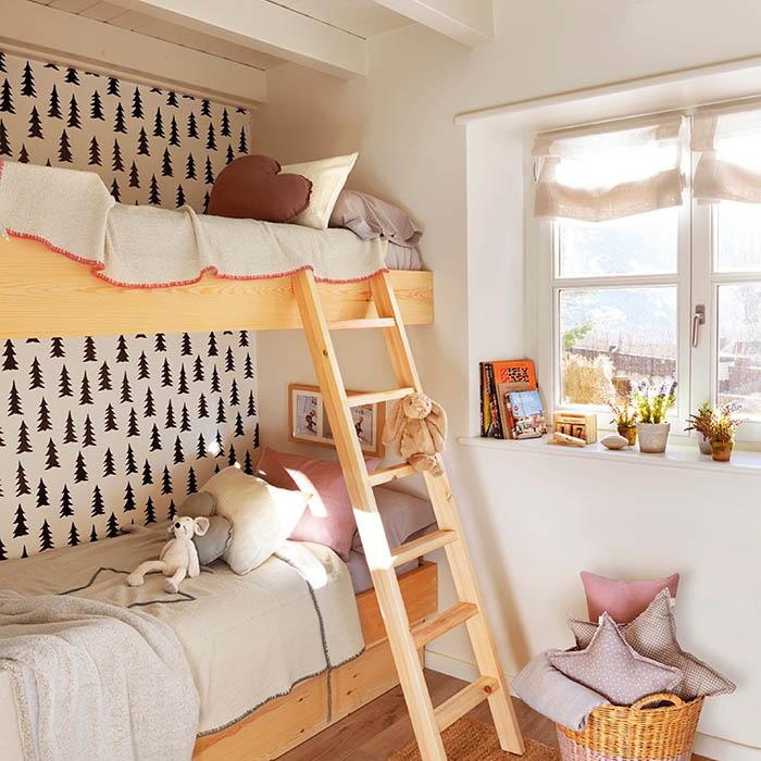 Papel pintado naturaleza geométrico dormitorio