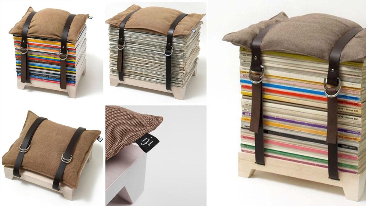 crear un taburete con revistas