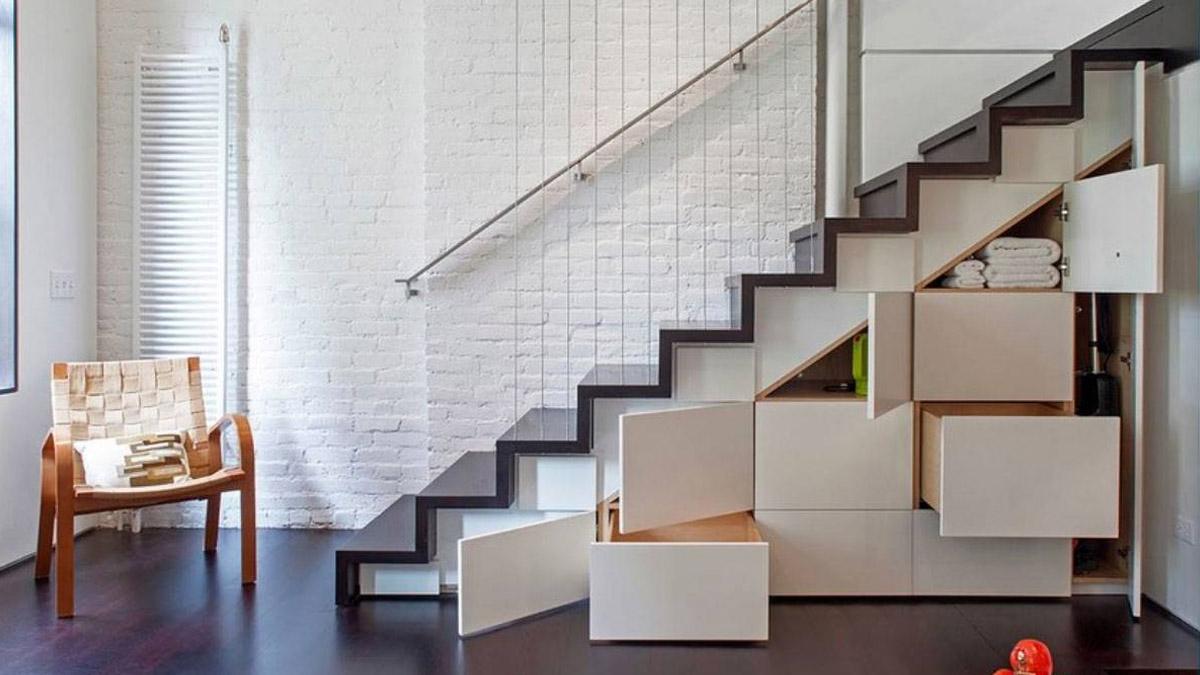 muebles de almacenaje bajo la escalera