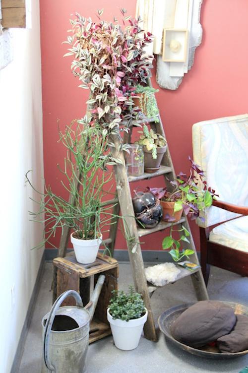 usos diferentes para escaleras en la decoracion macetero