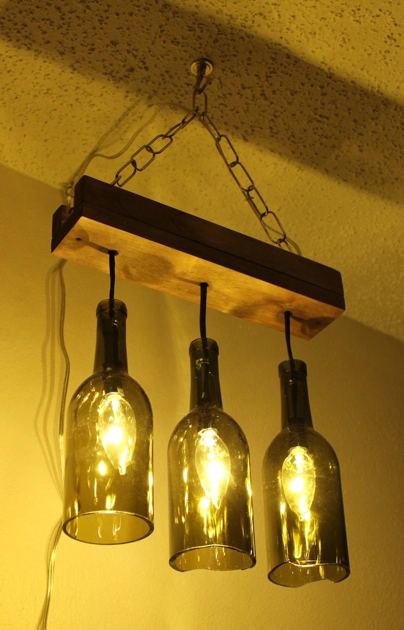 Como hacer una lámpara con botellas de cristal