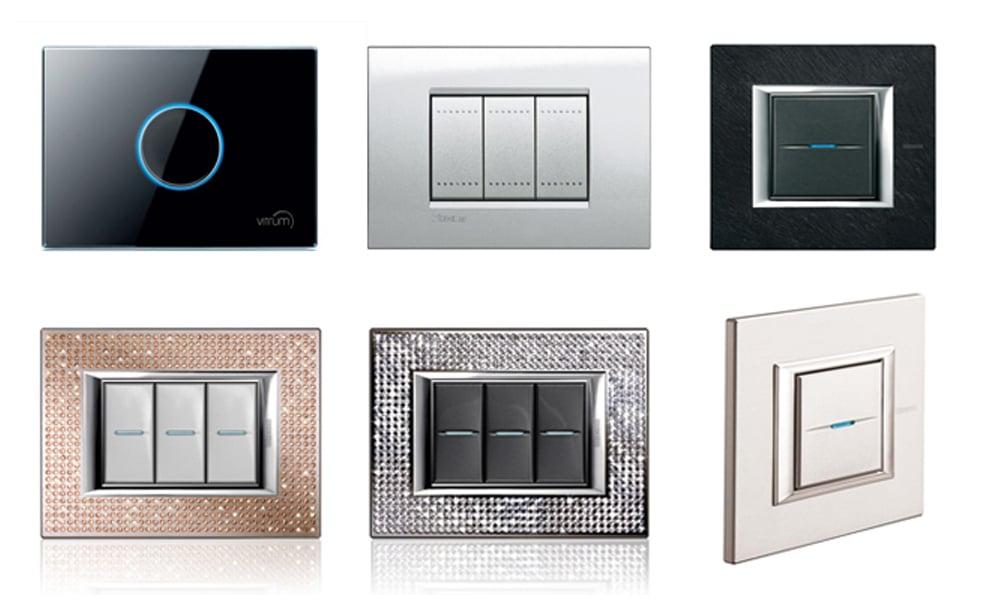 interruptores de pared modernos y decorativos